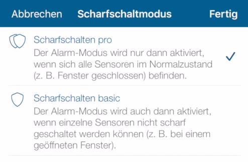 Homematic IP Access Point - Scharfschaltmodus