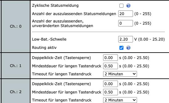 Konfiguration Homematic IP Wandtaster 2-fach