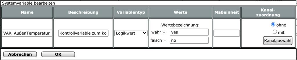 Systemvariable Frostwarner