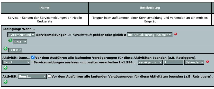 CCU Servicemeldungen per Messenger versenden